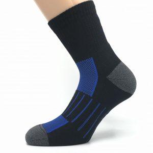 Športna polpliš bombažna nogavica - črna/royal