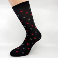 Črna bombažna nogavica s srčki