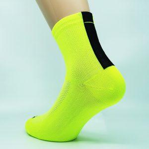 Kolesarska nogavica quarter - neon rumena/črna