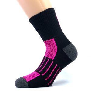 Športna polpliš bombažna nogavica - črna/pink