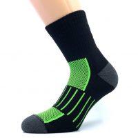 Športna polpliš bombažna nogavica - črna/zelena