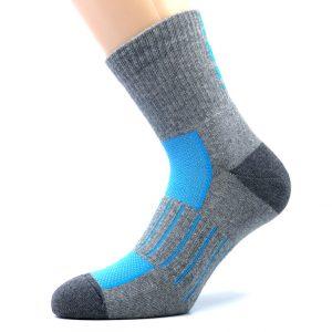 Športna polpliš bombažna nogavica - siva/modra