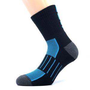 Športna polpliš bombažna nogavica - črna/modra