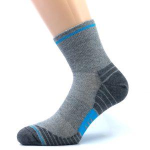 Gladka bombažna športna nogavica - siva/modra