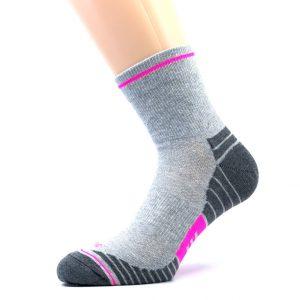 Gladka bombažna športna nogavica - siva/pink