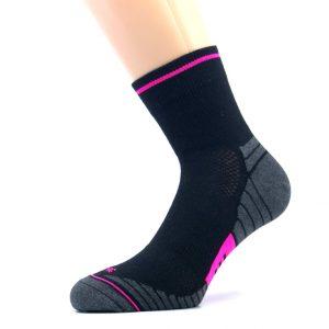 Gladka bombažna športna nogavica - črna/pink