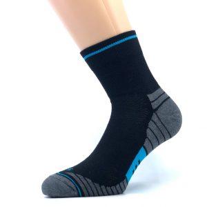 Gladka bombažna športna nogavica - črna/modra