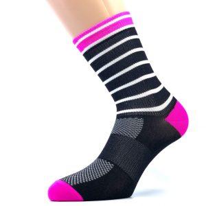 kolesarskKolesarska nogavica - črna/bela/pinka poliamidna nogavica z pink, črnimi, belimi detajli
