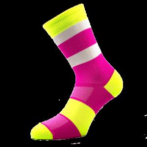 Kolesarska poliamidKolesarska nogavica - pink/rumena/belana nogavica žive barve