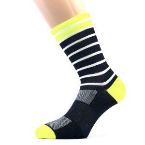 Kolesarska nogavica - črna/rumena/bela