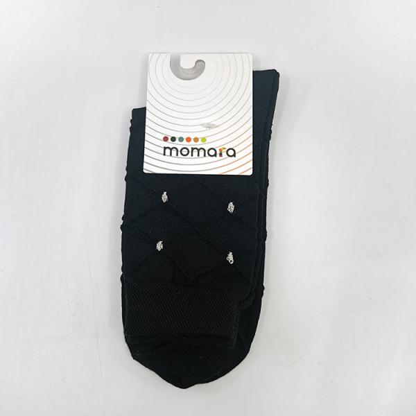 Črna bombažna nogavica z zlatimi detajli
