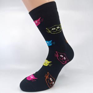 Črne bombažne nogavice meow