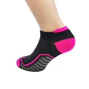 Nizka športna nogavica - črna/pink